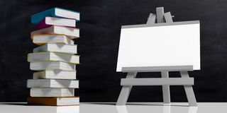 Education concept. Whiteboard on folding wooden easel, isolated against black background and a pile of colorful books, 3d. Illustration stock illustration