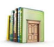 Education concept. Wooden door in the books. Door to study. 3d illustration Stock Image