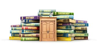 Education concept. Wooden door near stacks of books. Door to study. 3d illustration Stock Photos