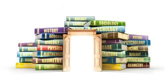 Education concept. Wooden door near stacks of books. Door to study. 3d illustration Royalty Free Stock Photo