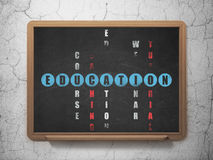Education concept: word Education in solving. Education concept: Painted blue word Education in solving Crossword Puzzle on School Board background, 3d render Stock Images