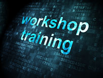 Education concept: Workshop Training on digital background. Education concept: pixelated words Workshop Training on digital background, 3d render