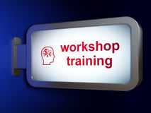 Education concept: Workshop Training and Head With Finance Symbol on billboard background. Education concept: Workshop Training and Head With Finance Symbol on Stock Photos