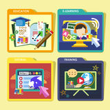 Education concepts icons set in flat design Royalty Free Stock Photo