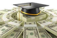 Education Cost. Illustration of mortar board on bundle of dollar note Stock Images