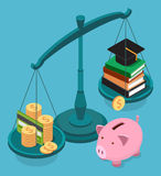 Education costs flat isometric concept. Royalty Free Stock Photo