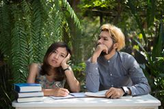 Education couple sitting at nature home garden, time to reading royalty free stock image