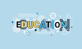 Education Creative Word Over Abstract Geometric Shapes Background Web Banner Stock Image