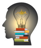 Education and creativity head silhouette Royalty Free Stock Photography