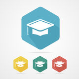 Education Cup flat icon. Graduation Cap. Stock Images