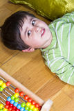 Education, cute little boy playing with blocks Stock Photography