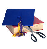 Education Cuts - Scissors Cutting Grad Hat Royalty Free Stock Photo