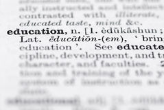 Education Definition in English Dictionary. Stock Images