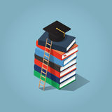 Education Degree illustration. Isometric vector education illustration. Stack of books with student cap on the top and the ladder Royalty Free Stock Images