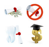 Education of a dentist on a white background 3D illustration. 3D rendering Stock Images