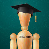 Education design, wooden dummy in the mortarboard. Vector illustration Stock Photography