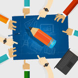 Education developing idea together make plan. teamwork in business and education. big wooden pencil with hands around it. And blueprint with sketch hand drawing royalty free illustration
