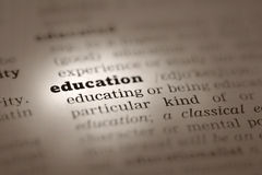 Education-Dictionary definition. Education Dictionary definition single word with soft focus Royalty Free Stock Photo