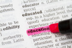 Education Dictionary Definition Stock Photos