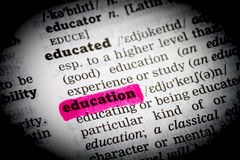 Education Dictionary Definition low key Stock Image
