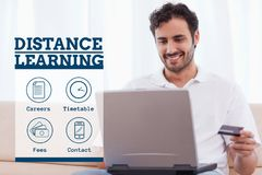 Education and distance learning text and icons and man looking at a computer Royalty Free Stock Photo