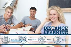 Education and distance learning text and icons and people sitting Royalty Free Stock Images