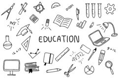Education doodle art with text banner on the middle with black and white color stock illustration
