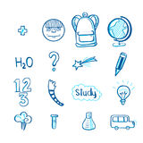 Education doodle icon set Royalty Free Stock Images
