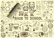 Education doodles,back to school concept on paper with 3d fountain pen Stock Image