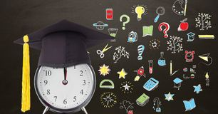 Education drawing on blackboard for school with graduation hat on clock. Digital composite of Education drawing on blackboard for school with graduation hat on royalty free stock photo