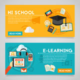 Education and E-learning Concept Banners Stock Photography