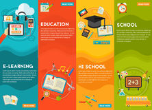 Education and E-learning Concept Banners Stock Photos