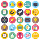 Education and E-learning Flat Icon Set Royalty Free Stock Images