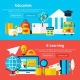 Education and E Learning Flat Website Banners Stock Photos