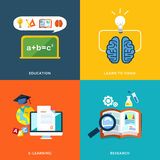 Education and e-learning icons set in flat design Stock Photos