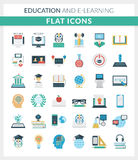 Education and E-learning Round Flat Icons Stock Photos