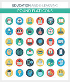 Education and E-learning Round Flat Icons Royalty Free Stock Photography