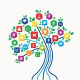 Education e-learning technology concept tree with icons set. New media technology education and e-learning concept tree with back to school subjects icon set Stock Images