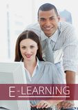 Education and e-learning text and couple using a computer Royalty Free Stock Photography