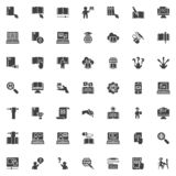 Education and e learning vector icons set. Modern solid symbol collection, filled style pictogram pack. Signs, logo illustration. Set includes icons as eBook vector illustration