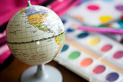 Education: Earth Globe Sits Among School Supplies Royalty Free Stock Photo