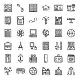 Education. Outline icon, subject and equipment, isolated on white background stock illustration