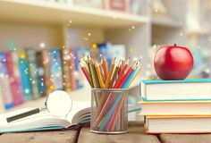 Education. Table office school stack teacher back stock photo