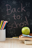 Education element on desktop and back to school background. Royalty Free Stock Photo