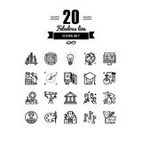 Education elements line icons set Stock Photography