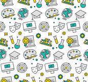 Education elements seamless icons pattern Royalty Free Stock Image
