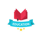 Education emblem vector illustration, open book with education text on blue ribbon Stock Photos