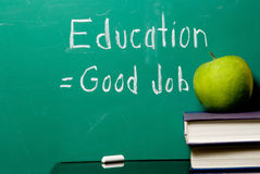 Education Equals Good Job. The concept that staying in school equates to getting a good job royalty free stock image