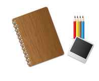 Education equipment. Notebook and pencil set Stock Photo