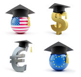 Education in the European Union and in the USA. On a white background 3D illustration Royalty Free Stock Image